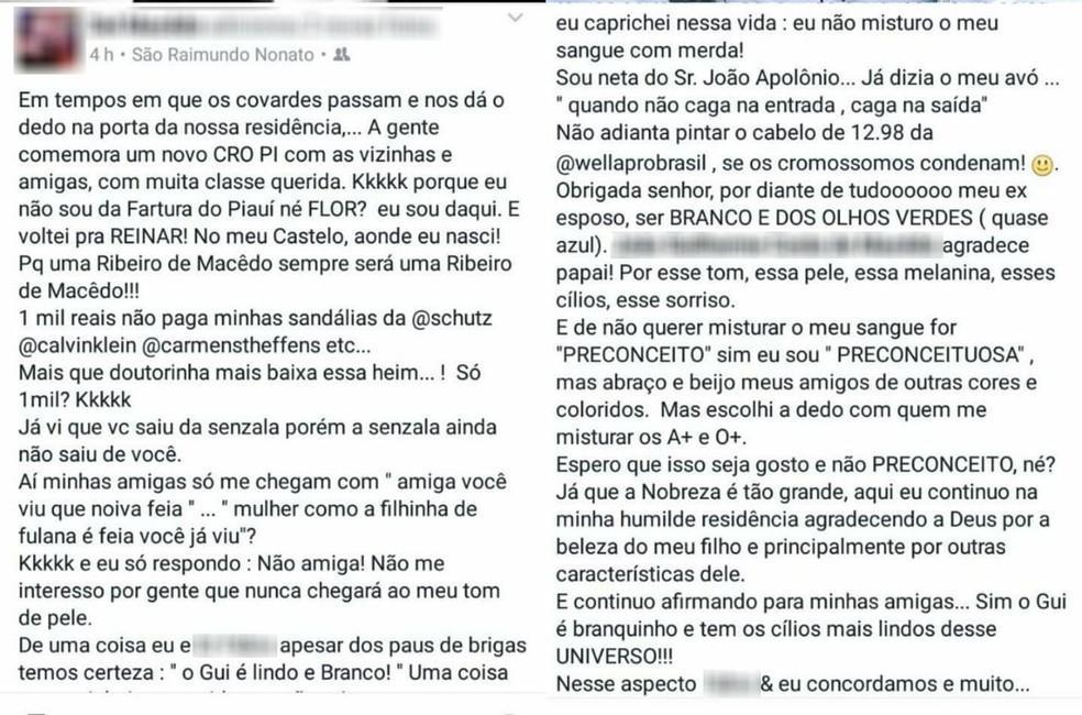 Mensagens racistas foram publicadas em rede social de suspeita (Foto: Reprodução / Facebook)