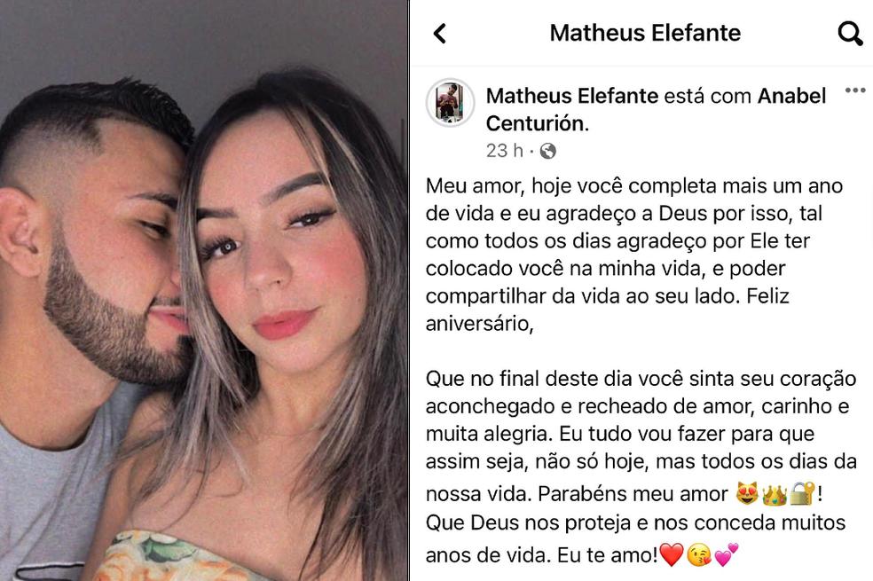 Mateo homenageou a namorada nas redes sociais.  — Foto: Redes sociais