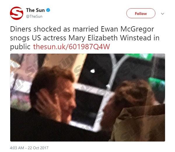 Ewan McGregor em jantar romântico com Mary Elisabeth Winstead no flagrante que teria resutado no término de seu casamento de 22 anos (Foto: Reprodução/Twitter)