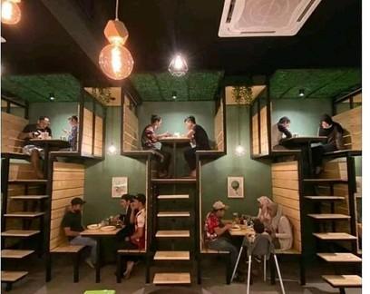 Restaurante em Bangkok chamou a atenção pelo uso inovador do espaço