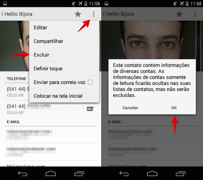 Apagando um contato no Android (Foto: Reprodução/Helito Bijora)