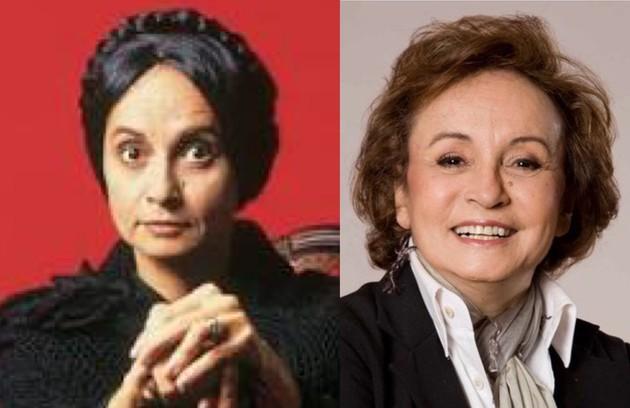 Joana Fomm foi outra que se destacou na novela, como a falsa cristã Perpétua, considerada até hoje uma das grandes vilãs da TV. Recentemente, ela participou das filmagens do longa 'Assombro' (Foto: TV Globo)