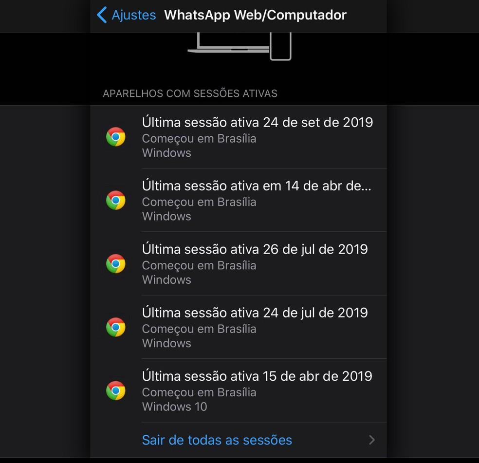 Dados de sessões do WhatsApp podem aparecer cortados dependendo da orientação da tela. — Foto: Reprodução