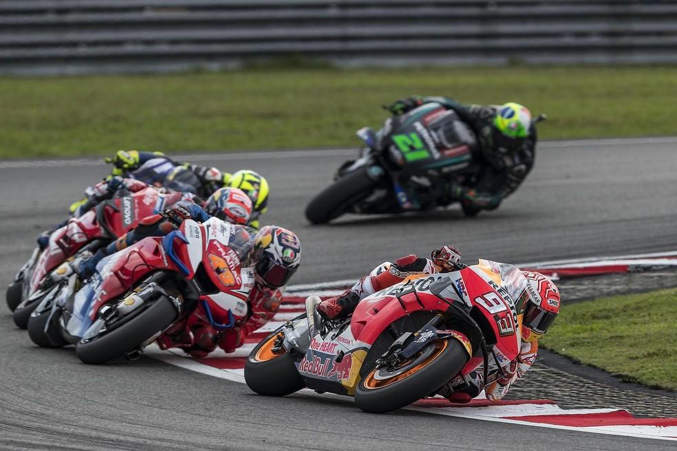 Márquez deixou Miller às voltas com Dovi e Rossi. Viñales já passou há tempos... — Foto: Dorna
