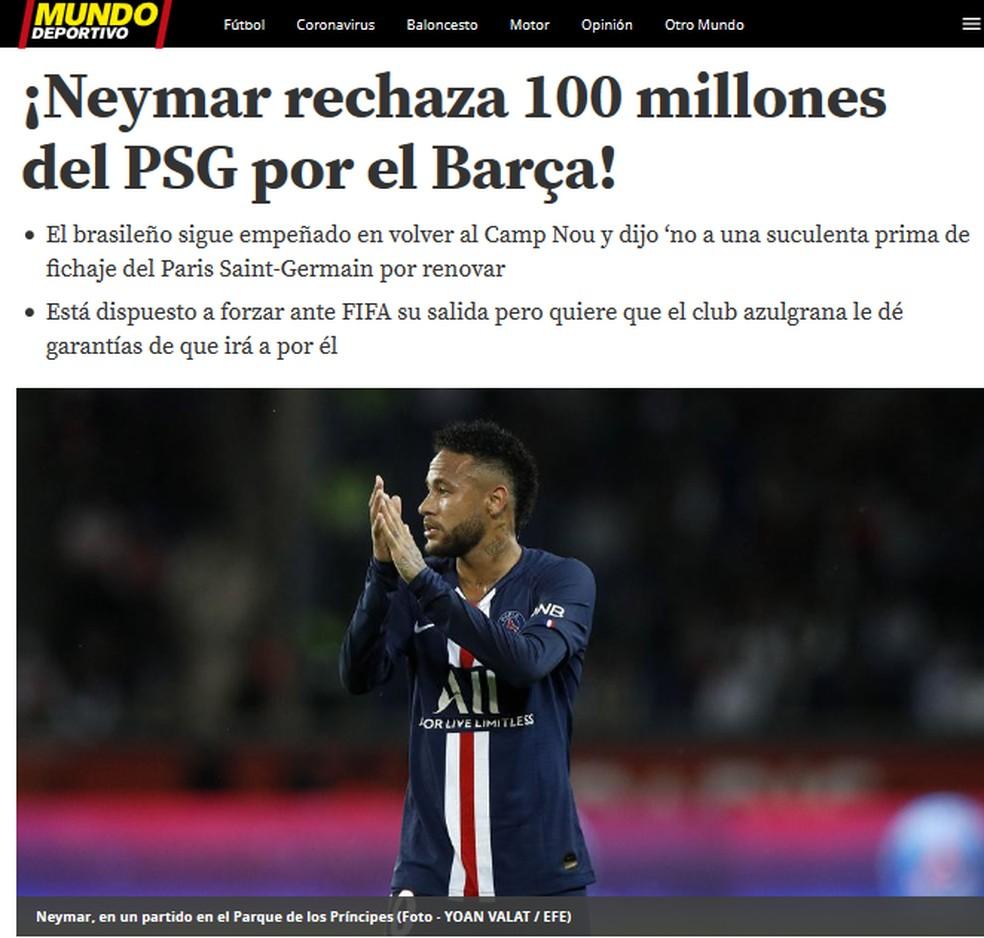 Manchete do Mundo Deportivo: Neymar recusou bolada do PSG — Foto: Reprodução