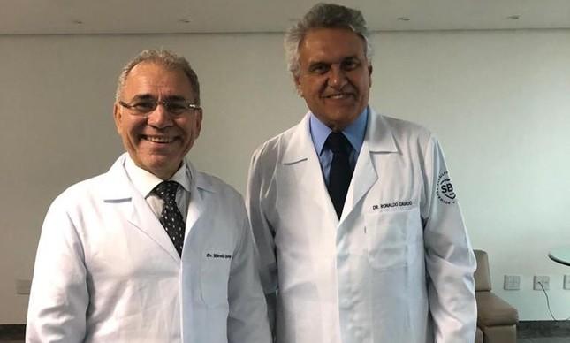 O novo ministro da Saúde, Marcelo Queiroga, e o governador Ronaldo Caiado, em 2019