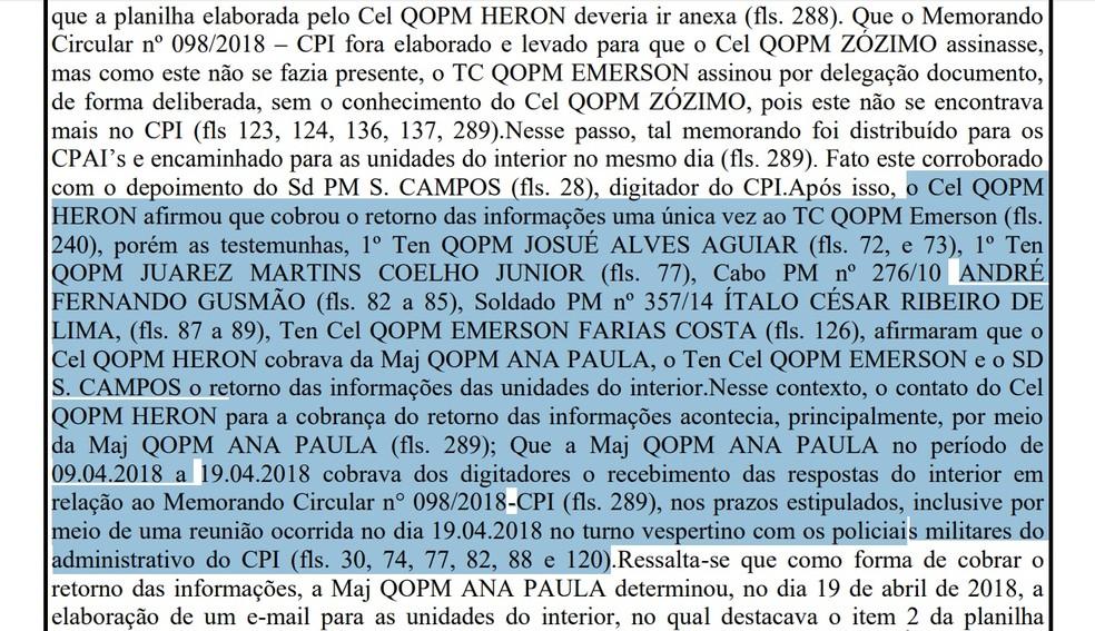 Segundo a sindicância, o coronel Herón teria cobrado as informações sobre políticos a vários policiais (Foto: Reprodução)