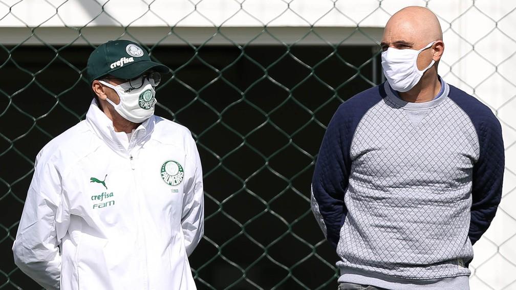 Vanderlei Luxemburgo e Maurício Galiotte, presidente do Palmeiras — Foto: Cesar Greco/Ag. Palmeiras