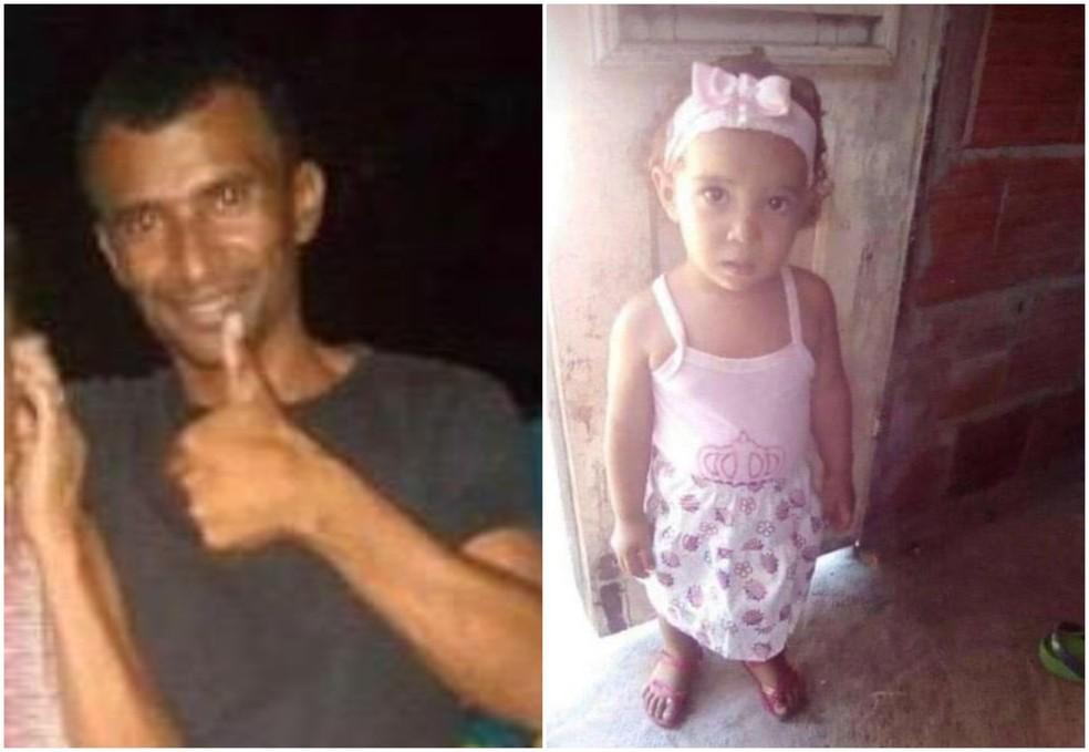 Francisco Jorge Gomes Xavier, de 39 anos, e Jorgiane dos Santos Xavier, de 1 ano e 11 meses, pai e filha assassinados no último dia 22 — Foto: Arquivo pessoal