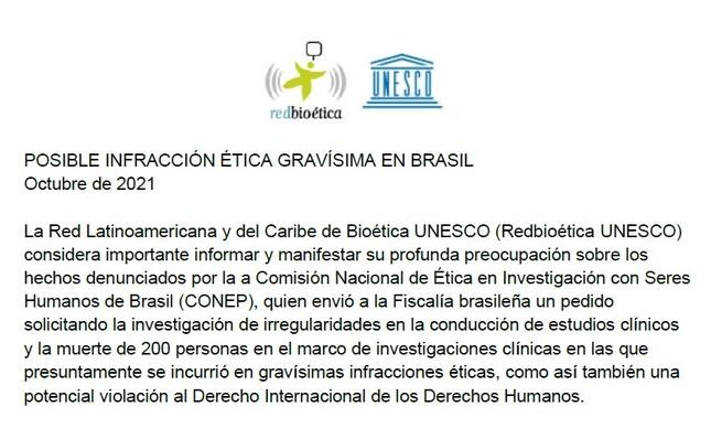Trecho da resolução da Redbioética-Unesco, aprovada na última quinta-feira (7)