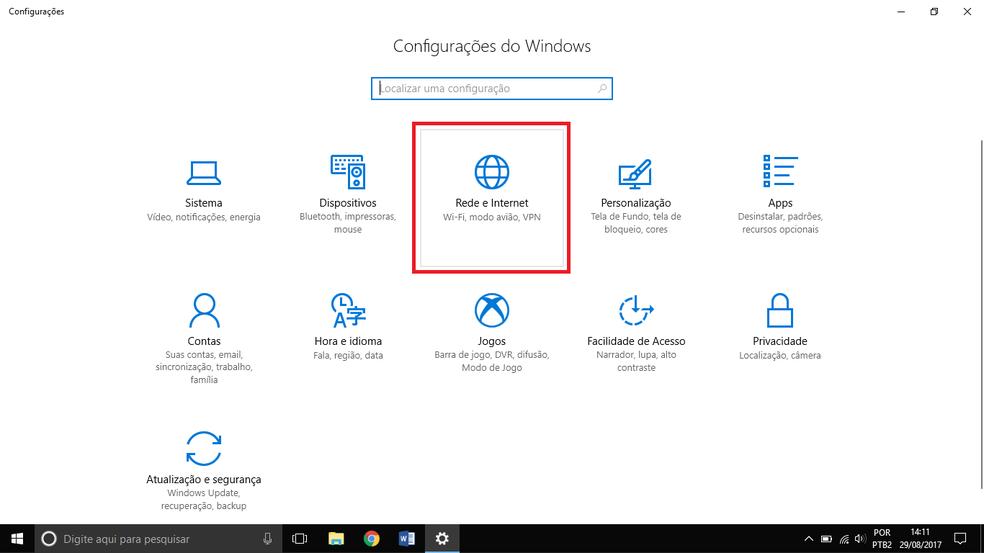 Abra o gerenciamento de redes do Windows 10 (Foto: Reprodução/Thiago Rocha)