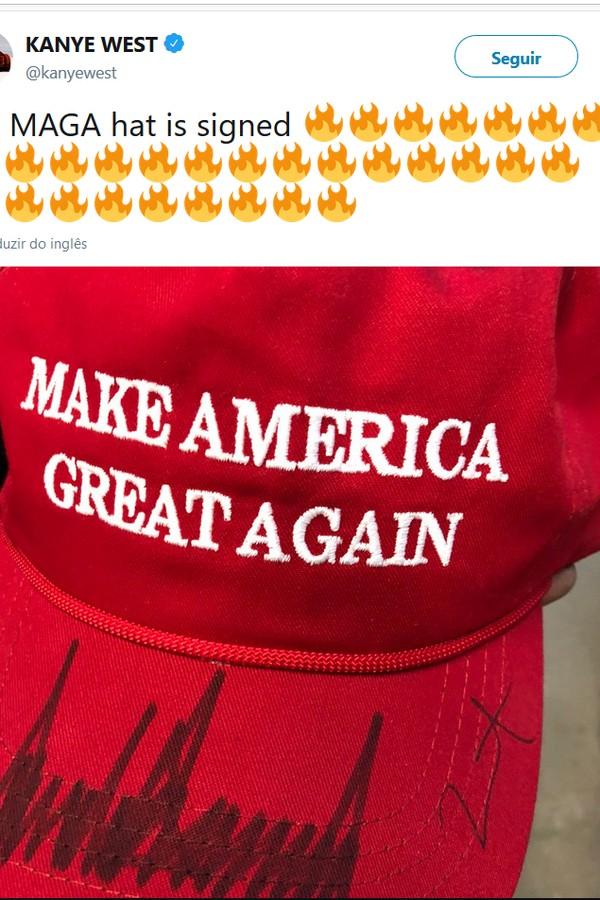 Kanye postou até foto de seu boné autografado por Trump no Twitter (Foto: Twitter/Reprodução)