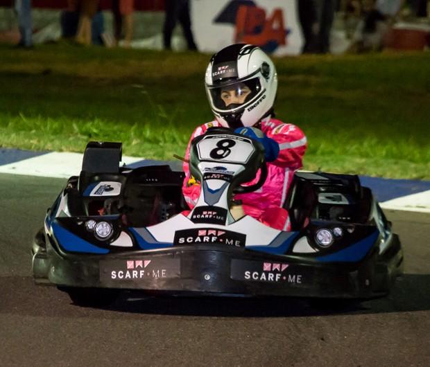 A atriz Regiane Cesnique foi a grande campeão do Kart dos Artistas (Foto: Divulgação)