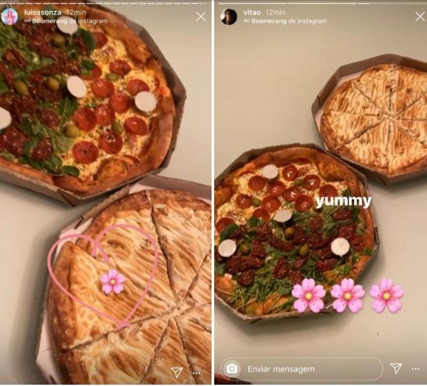 Luísa Sonza e Vitão curtem noitada de pizza juntos (Foto: Reprodução/Instagram)