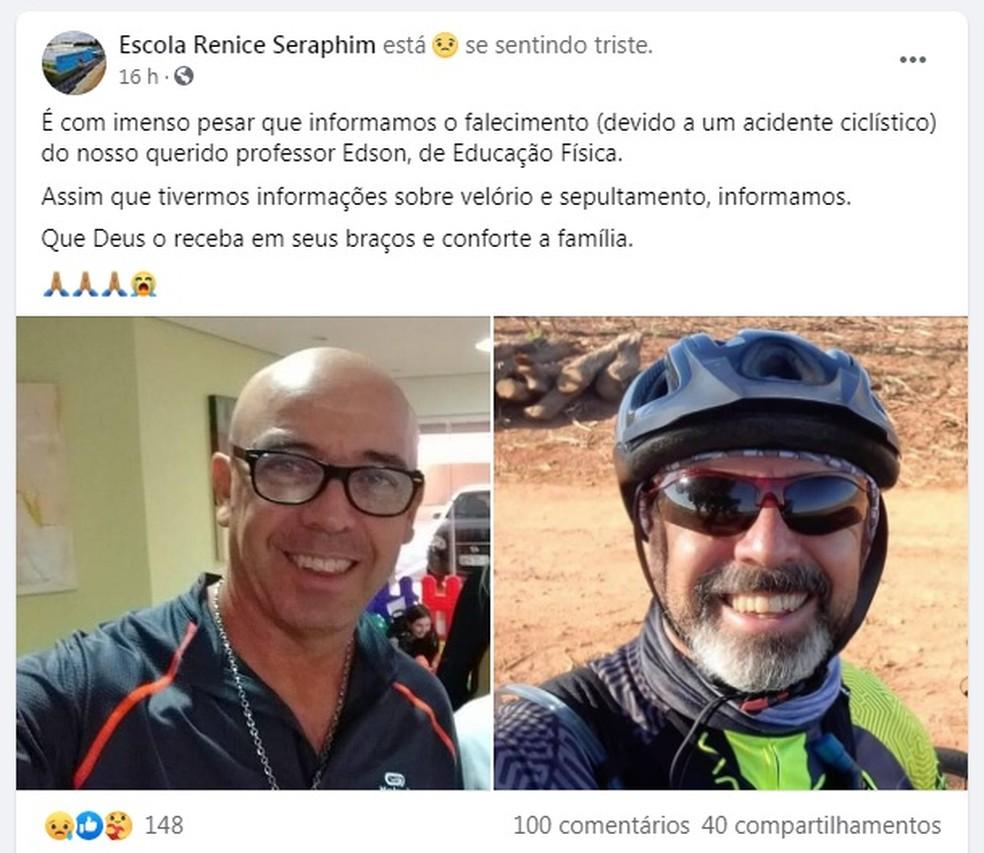 Professor morreu após cair de bicicleta e bater a cabeça em Boituva — Foto: Facebook/Reprodução