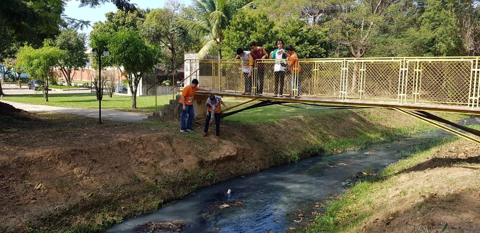 Alunos coletam água do Rio Botas ao lado da escola Sesi de Nova Iguaçu — Foto: Arquivo Pessoal