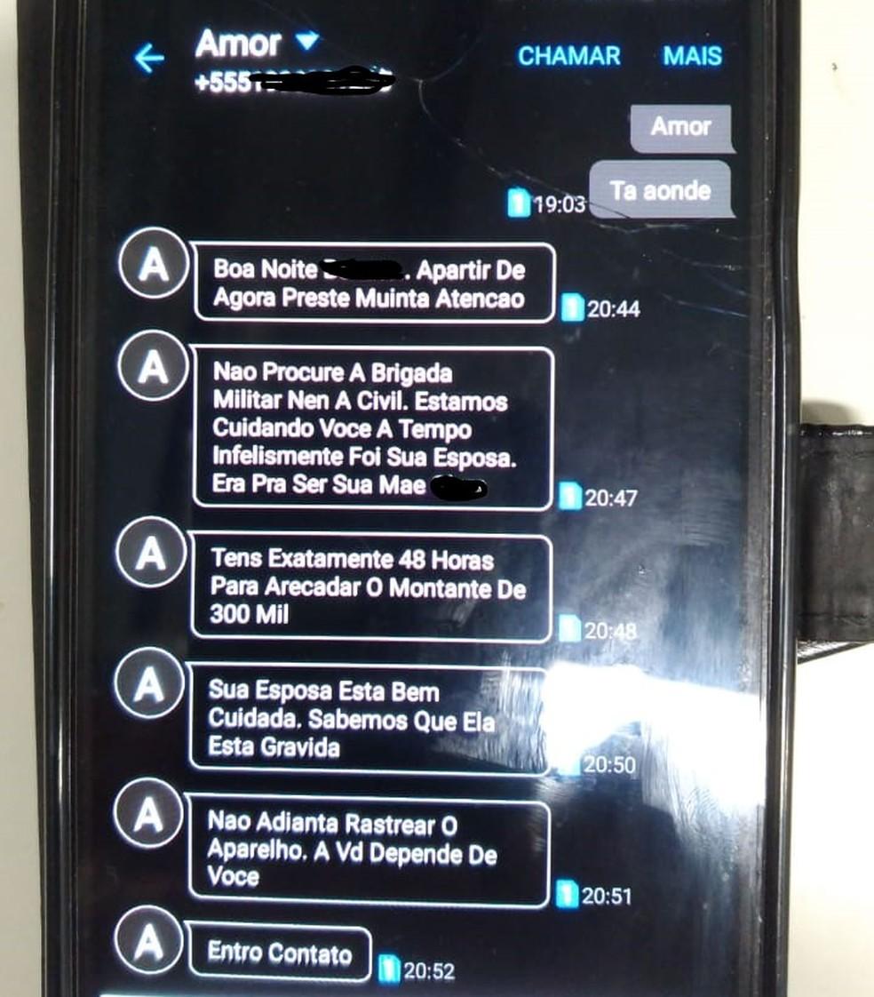 Mensagens de celular ajudaram a polícia a desvendar a falsa comunicação se sequestro — Foto: Polícia Civil/Divulgação