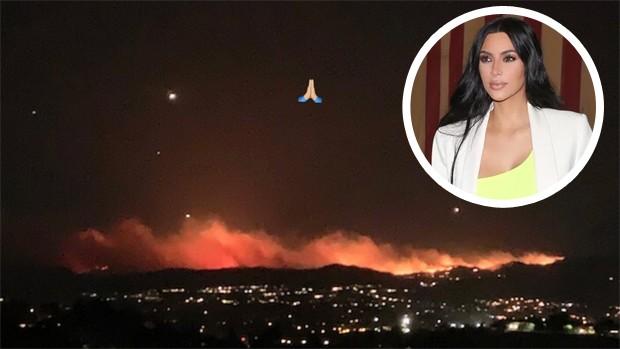 Incêndio na região de Calabasas; Kim Kardashian (Foto: Reprodução/Instagram/BACKGRID)