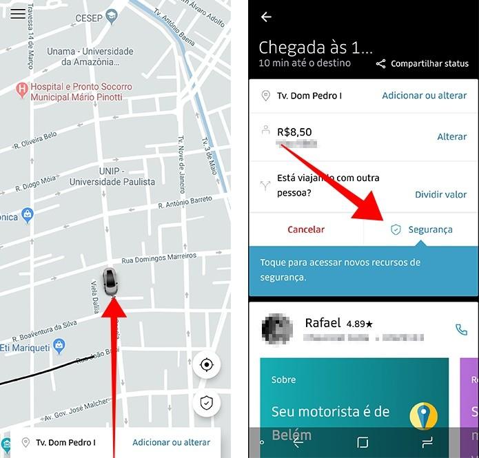 Acesse os recursos de segurança na tela de detalhes da corrida (Foto: Reprodução/Paulo Alves)