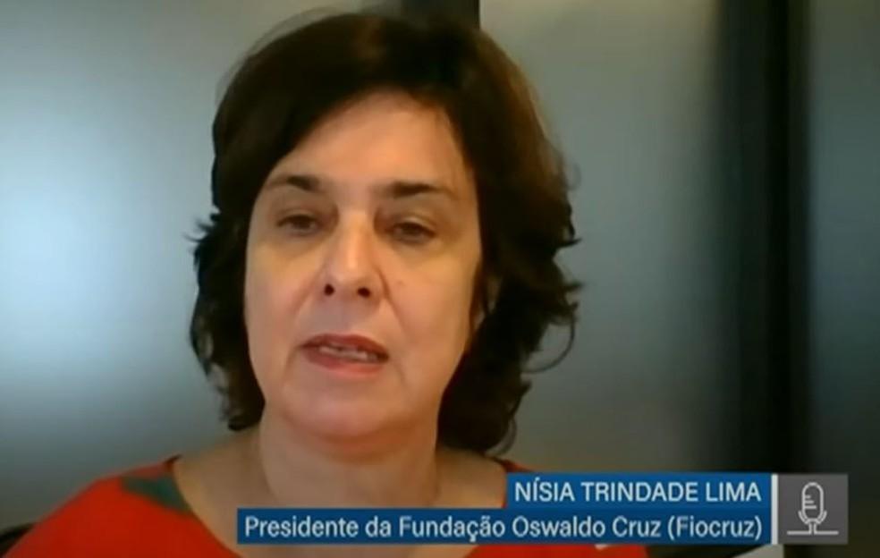 Presidente da Fiocruz, Nísia Trindade Lima, durante audiência pública promovida pela Comissão temporária da Covid-19 do Senado. — Foto: Reprodução