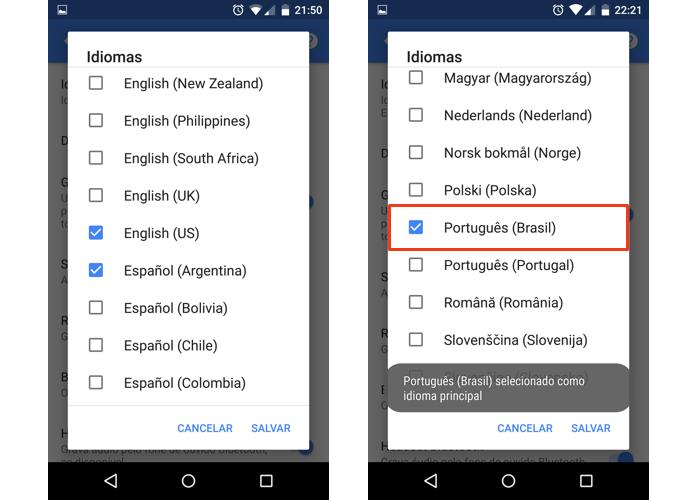 Selecione idiomas e torne um deles o padrão (Foto: Reprodução/Paulo Alves)