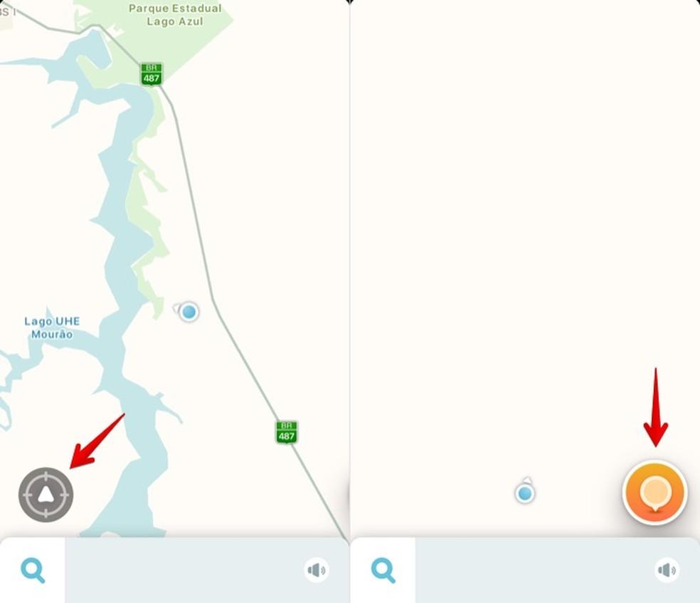 Centralize a sua posição no mapa e toque sobre o ícone à direita no Waze (Foto: Reprodução/Helito Bijora)