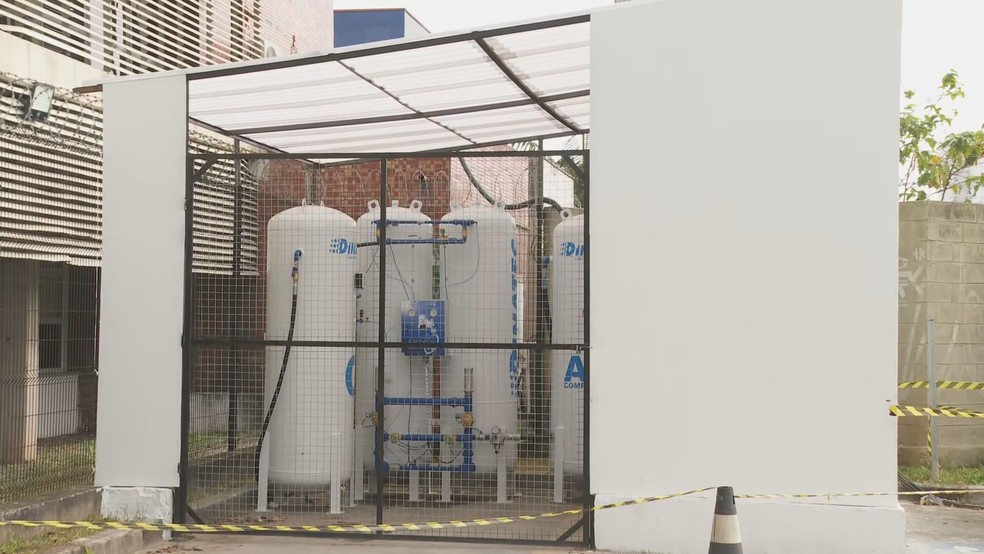 Usina de oxigênio de Ambulatório Médico de Especialidades em Santo André — Foto: Reprodução/TV Globo