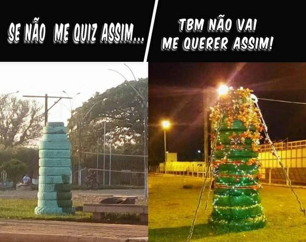 Página de humor fez postagem da árvore (Foto: Facebook/Reprodução)