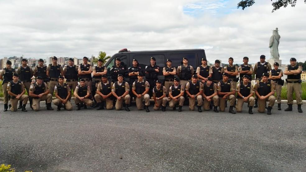 Polícia Militar e Bope em treinamento em Barbacena — Foto: Policia Militar/ Divulgação