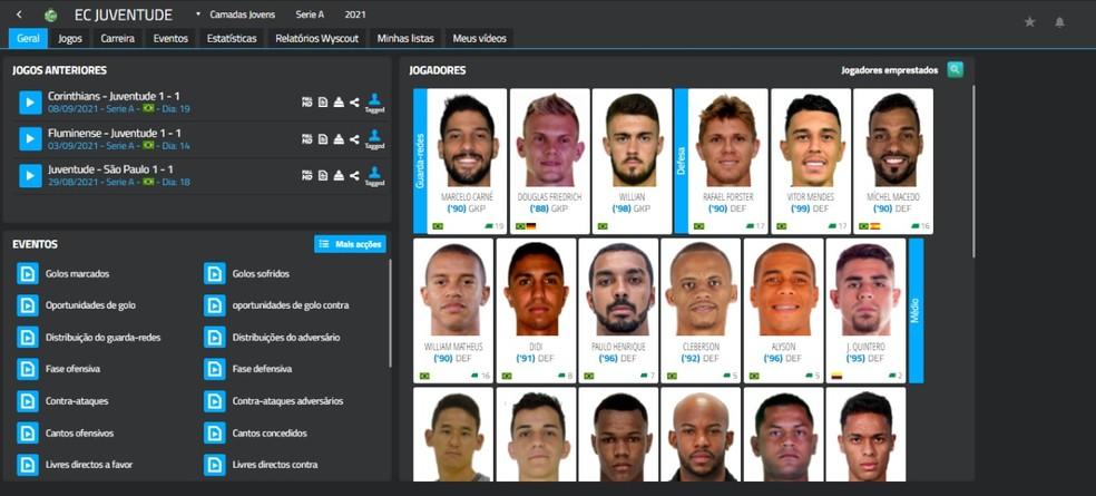 Juventude monitora jogadores com software de banco de dados — Foto: Reprodução