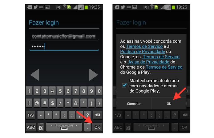 Realizando login de uma nova conta do YouTube no app oficial para Android (Foto: Reprodução/Marvin Costa)