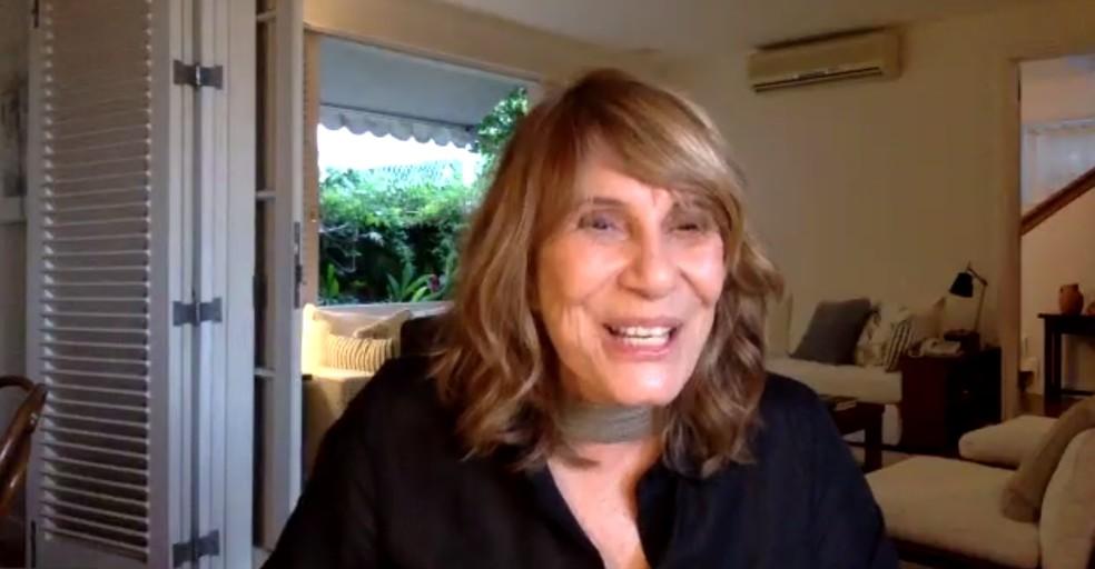 Renata Sorrah fala sobre relacionamentos em coletiva de 'Filhas de Eva'.  — Foto: Reprodução