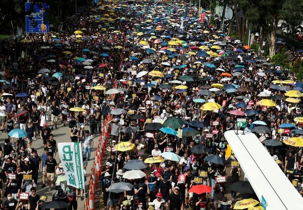 Hong Kong permanece sob tensão contra projeto de lei sobre extradição (Foto: REUTERS/Edgar Su/Direitos reservados via Agência Brasil )