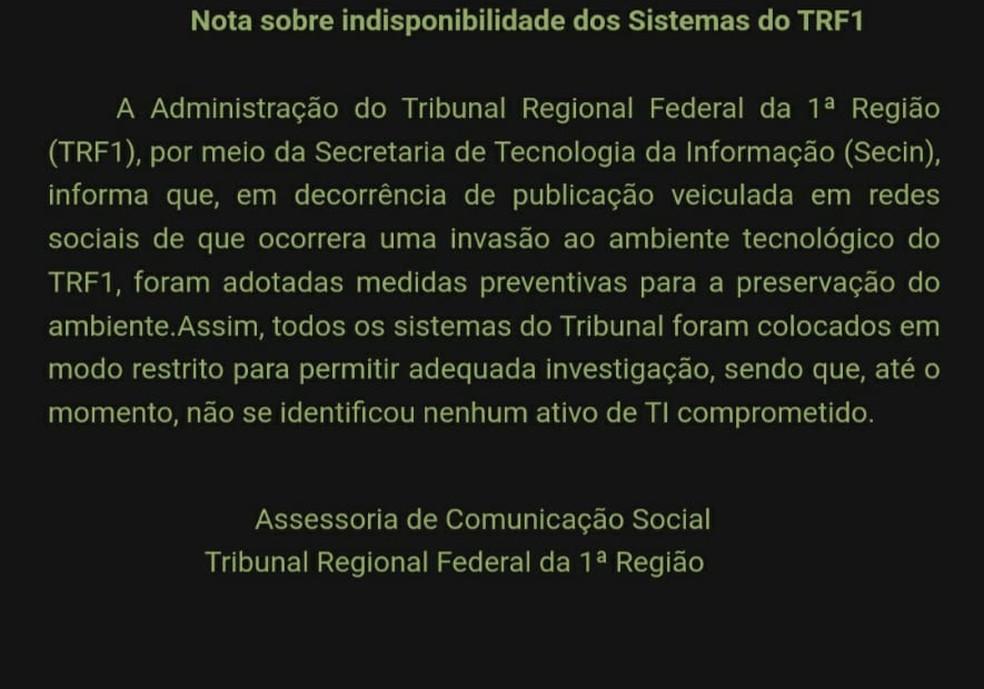 Nota do TRF-1 sobre indisponibilidade do sistema — Foto: TRF-1/Divulgação