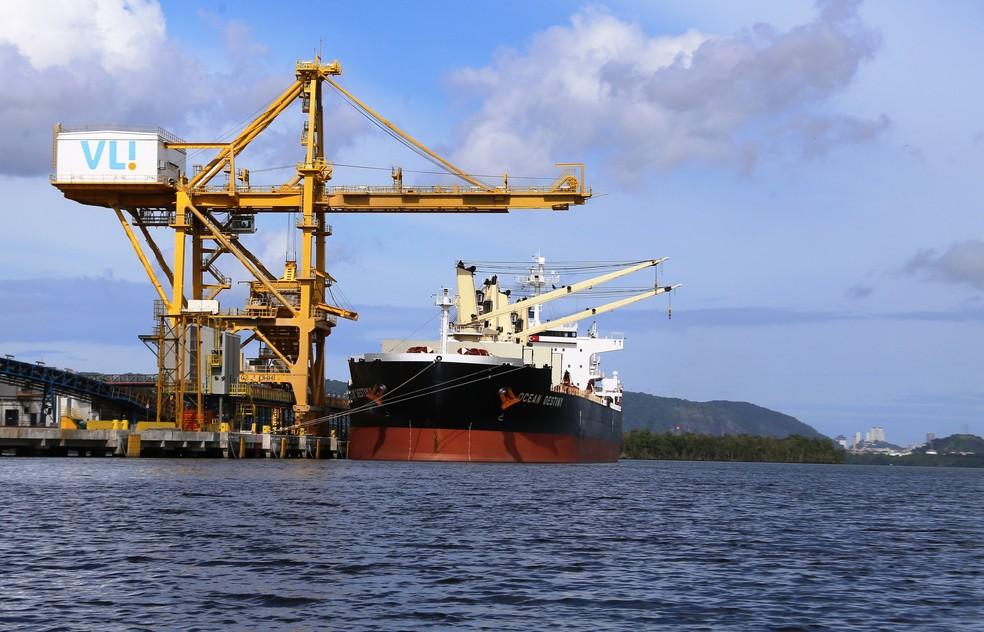 Novos píeres do Terminal Integrador Portuário Luiz Antonio Mesquita (Tiplam), da VLI, no Porto de Santos, SP (Foto: José Claudio Pimentel/G1)