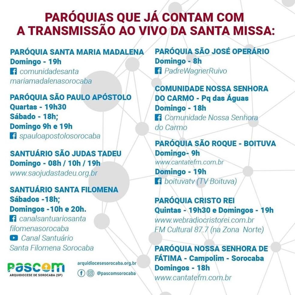 Lista de paróquias que já contam com a transmissão ao vivo da Santa Missa em Sorocaba — Foto: Divulgação