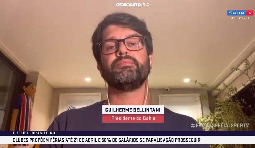 Guilherme Bellintani é um dos responsáveis pela negociação na Comissão Nacional de Clubes — Foto: Reprodução/SporTV