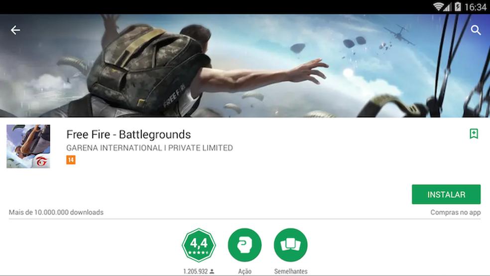 Clique em instalar para baixar o Free Fire Battlegrounds no emulador de Android (Foto: Reprodução/Murilo Molina)