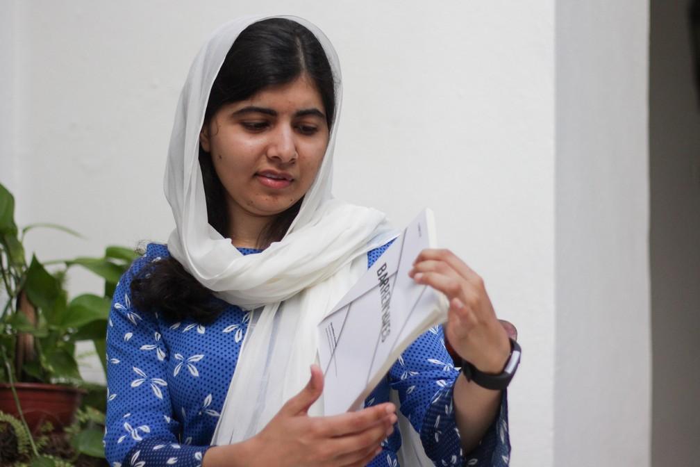 Malala dá entrevista em Salvador (Foto: Egi Santana/G1)
