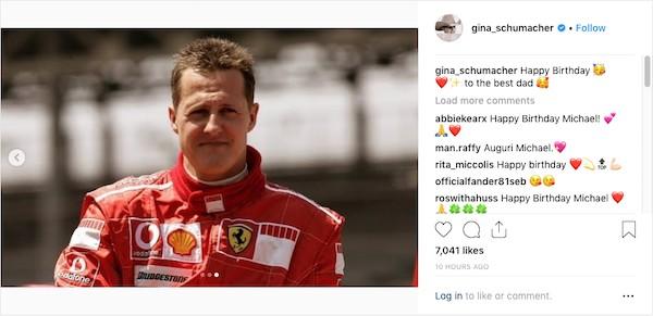 A mensagem compartilhada pela filha de Michael Schumacher celebrando os 50 anos do pai (Foto: Instagram)