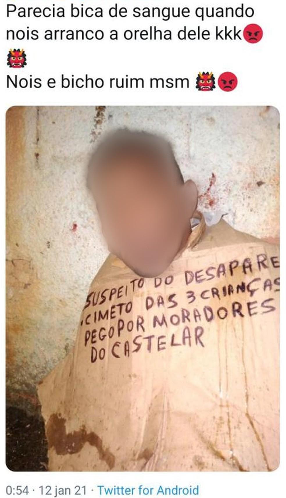 Tuíte do tráfico do Castelar cita tortura a homem falsamente acusado do sumiço dos meninos de Belford Roxo — Foto: Reprodução