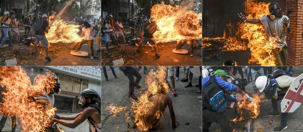 Montagem feita com imagens do estudante Víctor Salazar em chamas e sendo socorrido durante protesto em Caracas, na Venezuela, no dia 3 de maio de 2017. A série de fotos ganhou o terceiro lugar na categoria Spot New Stories do prêmio World Press Photo 2018 (Foto: Juan Barreto/AFP)