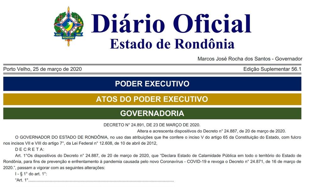 Decreto de calamidade pública de Rondônia passou por atualizações.  — Foto: Reprodução/Governo de Rondônia