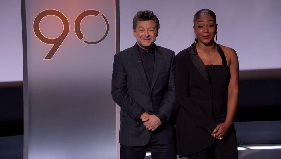 Os atores Andy Serkis e Tiffany Haddish durante o anúncio do Oscar 2018 (Foto: Reprodução/Twitter/TheAcademy)
