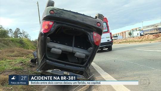 Homem fica ferido em capotagem de carro em Belo Horizonte