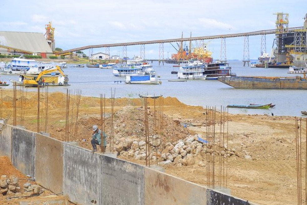 Obras do Projeto Orla, em Santarém — Foto: Mauro Nayan/Prefeitura de Santarém