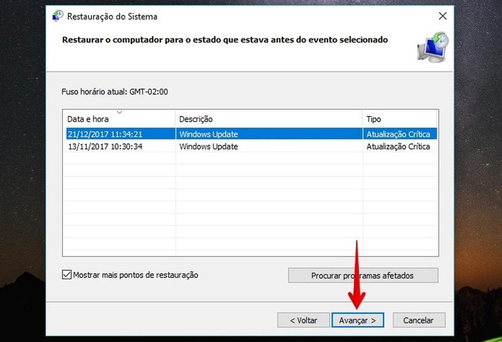 Escolha a data para a qual deseja restaurar o computador com Windows — Foto: Reprodução/Helito Bijora