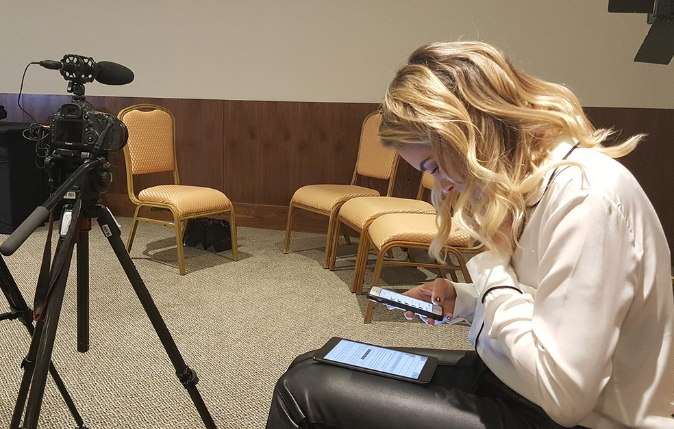 Applied, Lua gave that study before the interview with Hanson (Photo: Anny Ribeiro / Gshow)