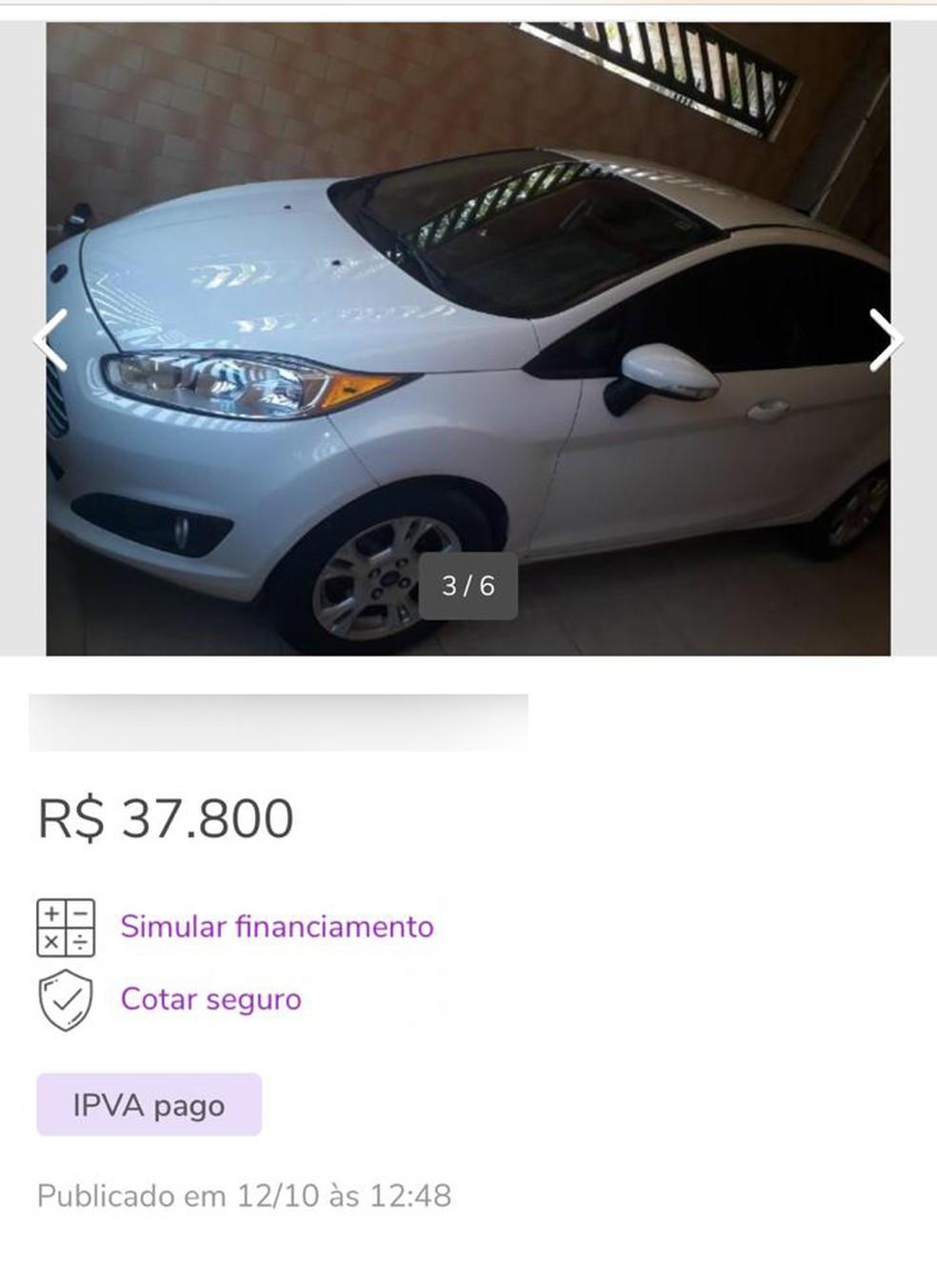 Anúncio de venda de carro divulgado na web que foi clonado por criminosos — Foto: Reprodução/OLX