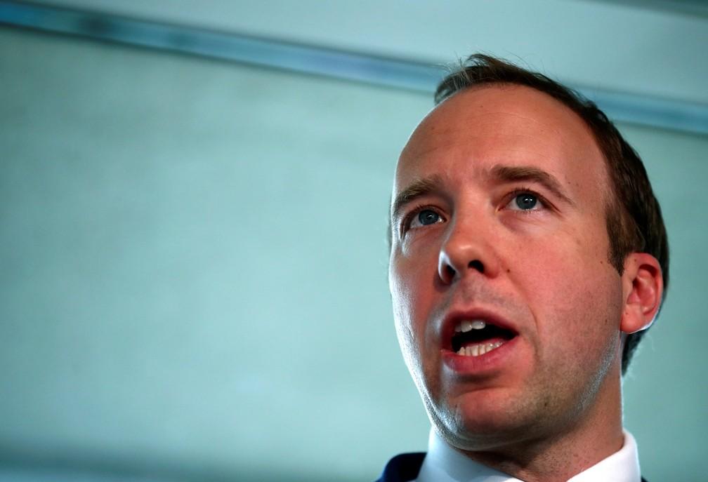 Matt Hancock, ministro da Saúde do Reino Unido. — Foto: Hannah McKay/Reuters